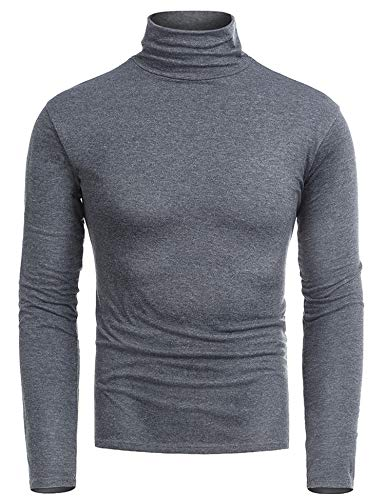 RAGEMALL Mens Slim Fit Casual Turtleneck Pullover Thermal Blouse Grey XXL