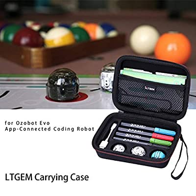 LTGEM EVA Hard Case for Ozobot Evo App-Connected Coding Robot (Black) - Fits USB Charging Cable / playfield / Skin / 4 Color Code Markers ( Fits a Full Robotics kit ): Toys & Games