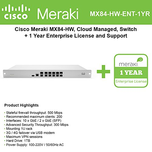 Cisco Meraki MX84 Security Appliance Bundle, 500Mbps FW