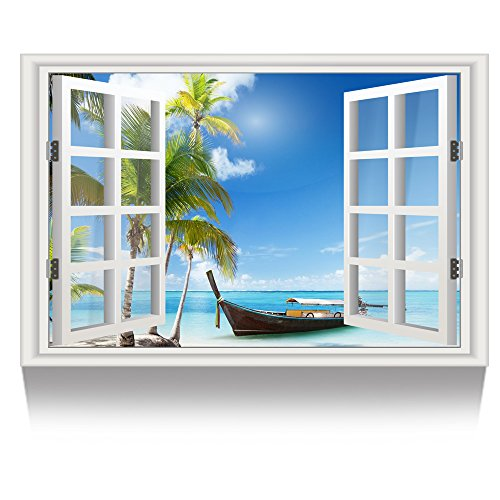 (Kreative Arts - Canvas Print Wall Art Window Frame Style Palm Tree Seascape Picture Wall Decor Stretched Giclee Print Gallery Wrap Modern for Home Decoration Ready to Hang (24''x36'', 2.Boat on Beach))