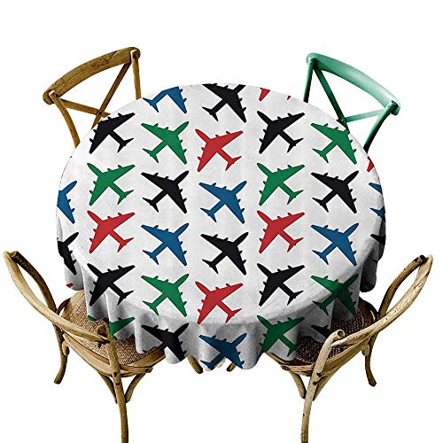Jbgzzm Oil-Proof and Leak-Proof Tablecloth Airplane Decor Collection Plane Pattern Aircraft Fighter Jet Transportation Speedy Retro Airborne Image Soft and Smooth Surface D35 Black Green Red Blue