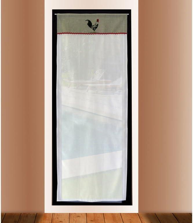 Soleil d'ocre 046691 Visillo Puerta acristalada Bordado de algodón 70x200 cm COQ