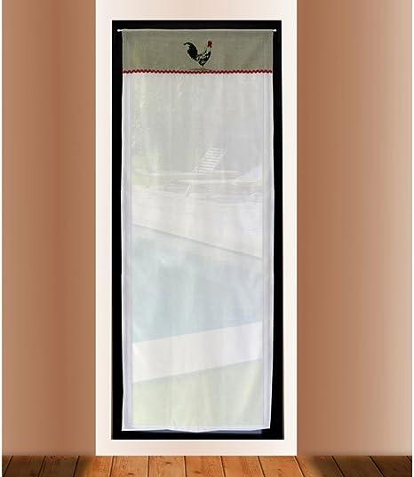 Soleil docre 046691 Visillo Puerta acristalada Bordado de algodón 70x200 cm COQ: Amazon.es: Hogar