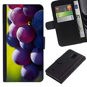 KingStore / Leather Etui en cuir / Samsung Galaxy Note 4 IV / Frutas Macro Oscuro de uva