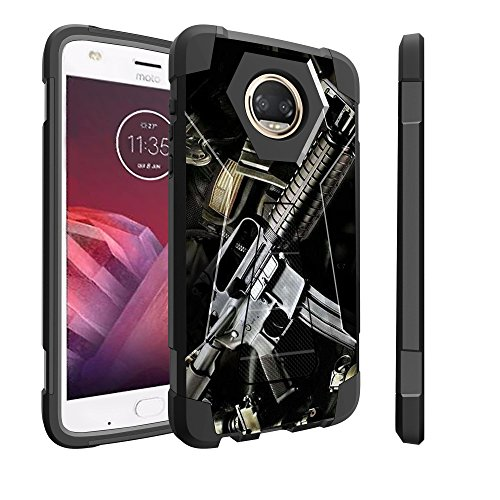 Untouchble Case for Motorola Moto Z2 Play Hard Case| Moto Z2 Force Case [Traveler Series] Shockproof Hybrid 2 Layer Case with Kickstand Case - Tough Assault Rifle