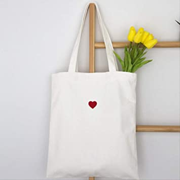 DFJU Bolsa de Lona Bordado Rojo Corazón Patrón Algodón Lona Eco Reutilizable Bolsa De Compras Plegable Cremallera Tote Bolsas De Compras: Amazon.es: Equipaje