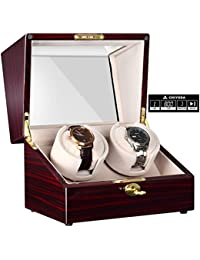 Automatic Double Watch Winder with Two Quiet Mabuchi Motors, LCD Touch Screen