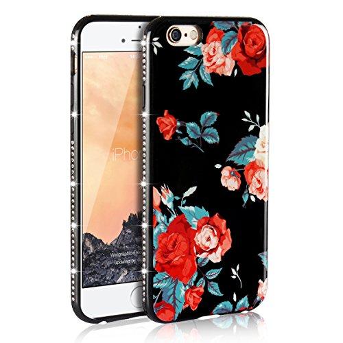 PHEZEN iPhone 6S Plus/ 6 Plus Case, iPhone 6 Plus TPU Case with Flower, Elegant Beautiful Floral Pattern Bling Crystal Rhinestone Diamond Bumper Soft Flexible TPU Back Cover for iPhone 6/6S Plus, 3