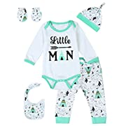 Baby Boys' Cute Desert Print Long Sleeve Bodysuit Outfit Set (White, 6-12 Months)