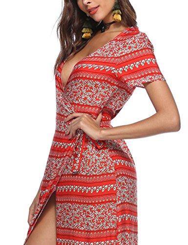 Bikini Profond Col V Femmes Yiwa Couvre Mousseline Bohême Robes Maxi Sangle De Fente Longue Imprimée