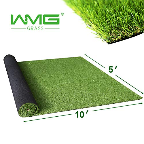 WMG Fake Grass Decoration for Indoor Outdoor Rug Green Grass Mats for Outdoors, 5' x 10' Fake Grass Outdoor Large Rug Drainage Door Mat, 1 -