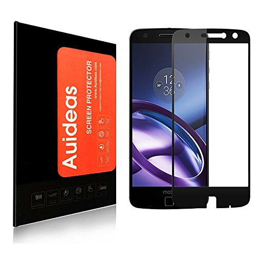 Moto Z Force Droid Screen Protector, Auideas Tempered Glass Full coverage [Case Friendly][3D Curved Protection]HD Clear Tempered Glass Screen protector For Motorola Moto Z Force Droid black