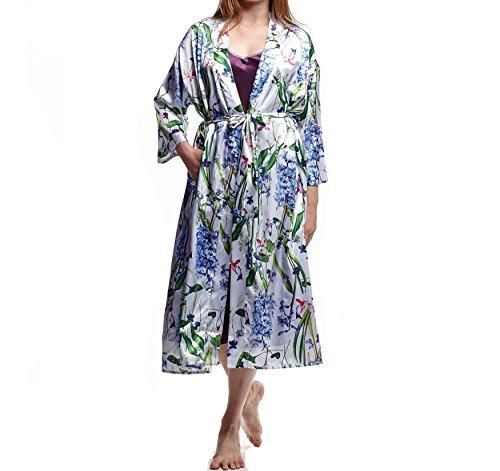 La Cera Women's Plus-Size Printed Satin Robe