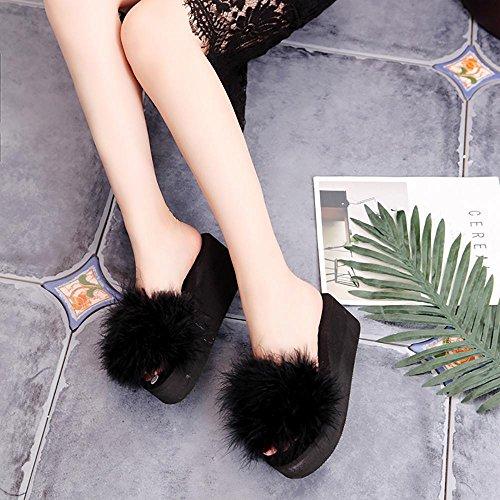 Chaussons Hiver femme chaussures Chaussures Chaussures SEX à hauts fourrure chaudes à de Noir 36 femme et talons douce douce A5dqFwd