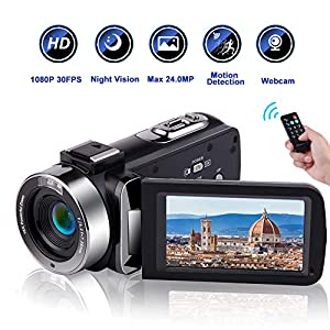 51kyPRxbIvL. SS300 - Camcorder Video Camera Full HD 1080P 30 FPS IR Night Vision Vlogging Camera 3.0 Inch IPS Screen 16X Digital Zoom Digital Camera with Remote Control (MV1)