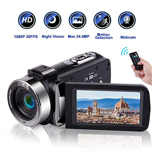 Camcorder Video Camera Full HD 1080P 30 FPS IR Night Vision Vlogging Camera 3.0 Inch IPS Screen 16X Digital Zoom Digital Camera with Remote Control (MV1)