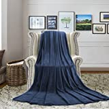 H.VERSAILTEX King Blanket Cool Lightweight Ultra Soft and Warm Flannel Plush Super Soft Decorative Fleece Blanket Extra Fuzzy Comfort Durable Blanket for Hotel, Navy