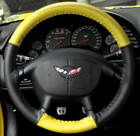 Corvette Steering Wheel Cover Euro-Style Two-Tone : 1997-2004 C5 & Z06 (Yellow/Black)