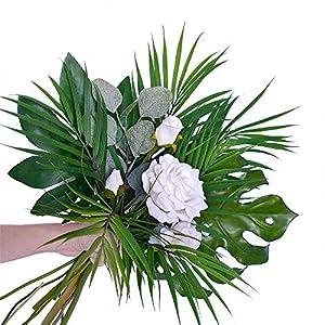 Supla 3 PCS 3 Size ArtificialAreca Palm TropicalLeaves Stems Faux Plastic PalmTreeLeaves Faux Monstera Leaves Plastic Palm Leaf Greenery Floral Arrangement Hawaiian Luau Jungle Beach Wedding Party 3