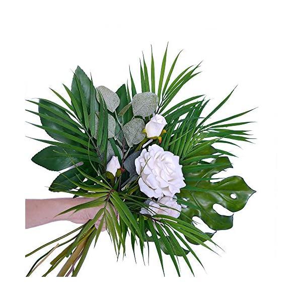 Supla-3-PCS-3-Size-Artificial-Areca-Palm-Tropical-Leaves-Stems-Faux-Plastic-Palm-Tree-Leaves-Faux-Monstera-Leaves-Plastic-Palm-Leaf-Greenery-Floral-Arrangement-Hawaiian-Luau-Jungle-Beach-Wedding-Party