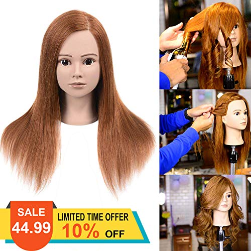 100% Human Hair Mannequin Head For Braiding Manikin Head For Hairdresser Professional Cosmetology Mannequin Head With Human Hair Auburn Brown 20-22