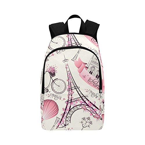 InterestPrint Casual Backpacks Eiffel Tower Paris Laptop Bag School Outdoor Travel Bags for Adults Men Women - Paris Laptop Carrying Backpack