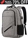 Travel Laptop Backpack,Durable Anti Theft High School Backpack for Women Men,Business Computer Laptop Bag with USB Charging Port,Waterproof College Student Bookbag Fit 15.6 Inch Laptop Notebook-Grey