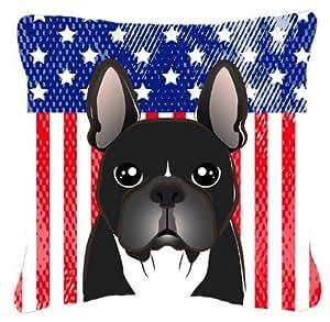 """Caroline tesoros del bb2157pw1818la bandera americana y Bulldog Francés tela almohada, 18""""x 18, multicolor"""