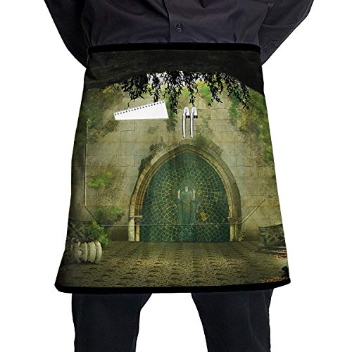 Jesiceeal Unisex Chef Aprons Ruins of Castle with Lady Figure On The Door in A Cave Medieval Architecture Professional Bib Casual Painting Cooking Kitchen Working BBQ Aprons ()