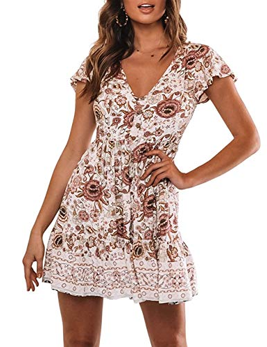 MEROKEETY Women's Summer Boho Floral Print V Neck Button Down Ruffles Swing Beach Mini Dress