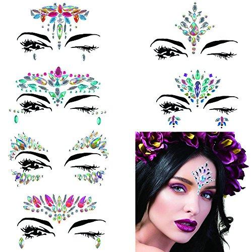 (Mermaid Face Gems Glitter, 6 Packs Rhinestone Face Jewels Festival Rave, Self-adhesive Face Eyes Eyebrow Bindi Tears Body Rainbow Jewel Crystal Acrylic Diamond Temporary Tattoo)