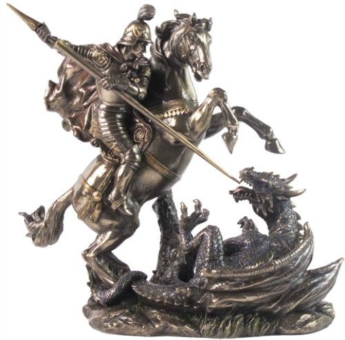 Saint St George on Horse Slaying Dragon 9 1 8 Colored Bronze Resin Statue Religious Decoration