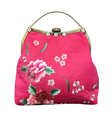 Purse Hand Clutch Evening Magenta 100 Embroidery 101 Handbag Bag qUO6BS