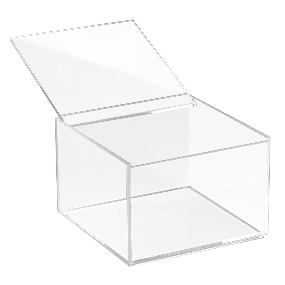 InterDesign Clarity Scatola Cosmetici con Coperchio, Media, 10 cm, 15.5x15.5x10 cm 39630