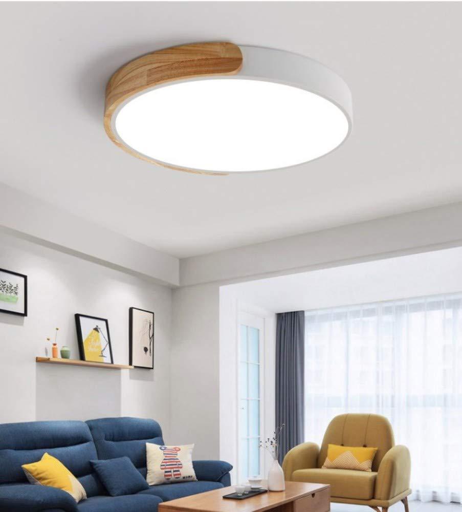 Rc Dia-30cm Plafonniers en bois ronds de LED avec la lampe de plafond à télécomhommede pour le salon dinant des appareils d'éclairage de cuisine, Dia-30cm, RC