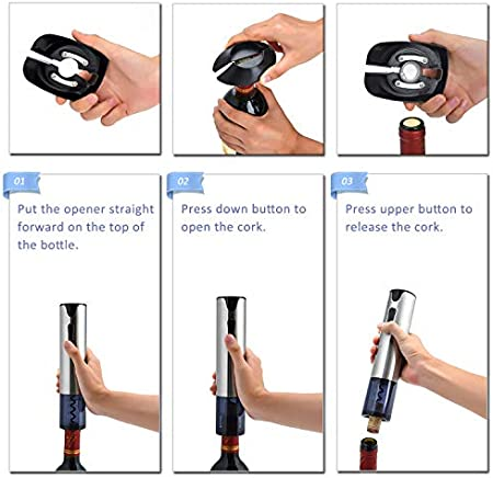 WIWONEY Juego de Regalo de Abridor de Botellas de Vino Eléctrico con Puerto de Carga USB, Cortador de Aluminio, Tapón de Vino al Vacío y Vertedor