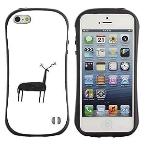 """Hypernova Slim Fit Dual Barniz Protector Caso Case Funda Para Apple iPhone SE / iPhone 5 / iPhone 5S [Ciervo Niños Nativo Dibujo cueva del hombre blanco""""]"""
