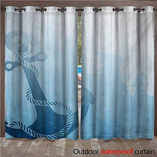 Nautical Door/Gazebo Curtain Monochrome Anchor Illustration Deep Down in The Sea Bottom Be Strong and StableW108 x L96 Pale Blue