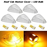 5xClear Cab Marker Clearance Lights Cover+194 T10 Amber High Power LED Bulbs for 1999-2016 Ford E150-E550 F-150 F-250 F-350 F-450 F-550 Super duty pickup truck