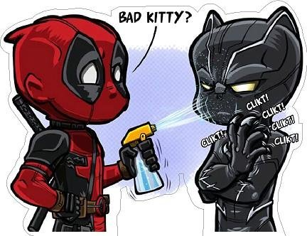 Superhero Kitty (Deadpool Black Panther bad kitty Vinyl Sticker)