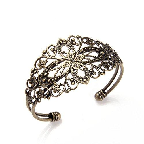 Skyus® 3 pieces Antique Bronze Brass Metal Flower Cuff Bangle Bracelet 35x65mm HOT
