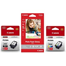 Canon Ink Pack with PG-243 Black Ink, CL-244 Color Ink and 4x6in Photo Paper