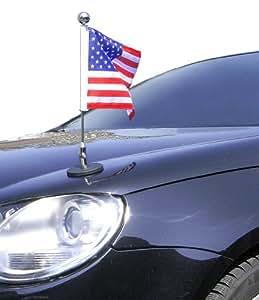 Magnetic Car Flag Pole Diplomat-1.30-Chrome USA