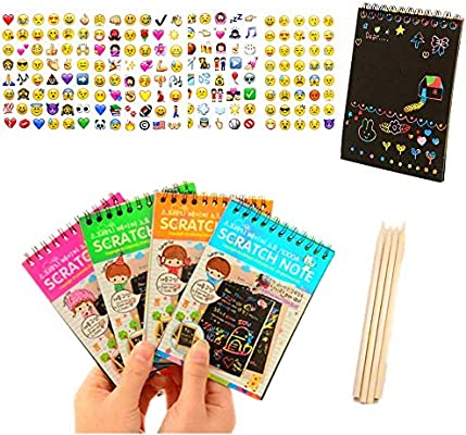 4Pack IFFree Scratch /& Sketch Art Note Pads Small Size. Scratch Art Rainbow Mini Notes With Stylus Scratch Paper 10 Pages Four Colours, with four Stylus and Style is random