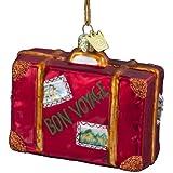"""Kurt Adler 3-1/2-Inch Noble Gems Glass """"Bon Voyage"""" Suitcase Ornament"""