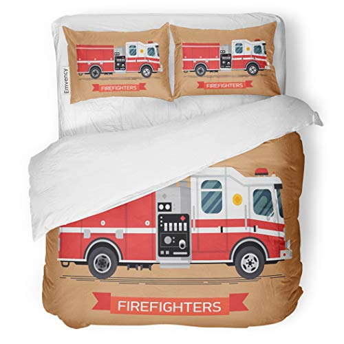 Set Firefighters Cool Emergency Vehicle Fire Engine Truck Decorative Bedding Set with Pillow Case Twin Size ()