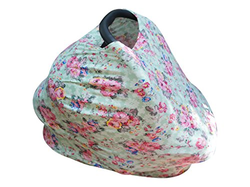 Baby Girl Floral Car Seat Cover, Canopy and Nursing Cover, Multi Use Stretch Infant Cart Seat Perfect for Baby Shower Gifts (Tan Towels Canada)