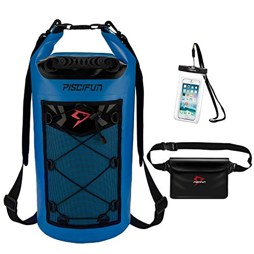 Piscifun Waterproof Dry Bag Backpack for Water Sports - Fishing Boating Kayaking Surfing Rafting Camping Gifts for Men and Women Free Waterproof Phone Case and Waist Pouch Sapphire Blue ()
