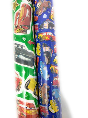 Christmas Wrapping Holiday Paper Gift Greetings 2 Rolls Design Festive Pixar Cars McQueen (Homemade Disney Pixar Costumes)