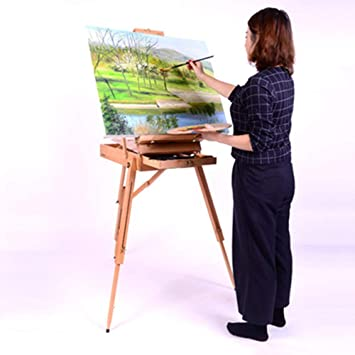 CAI Niños Caballete Caballete de aceite plegable de madera sólida Pintar la caja de pintura Caballete de aceite móvil portátil Bosquejo Dibujo Marco de dibujo 40 * 55Cm 3 colores disponibles Blo: